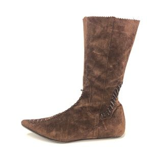 Vivienne Tam Vintage Brown Suede Boots EUR 38.5